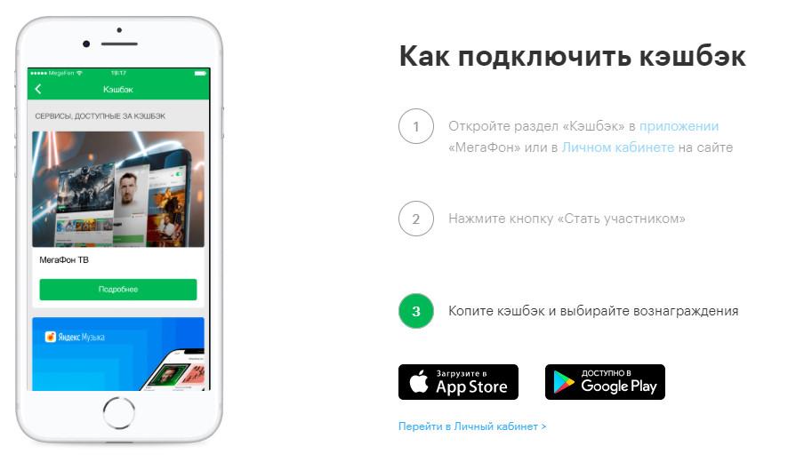 Подключение услуги Мегафон CashBack