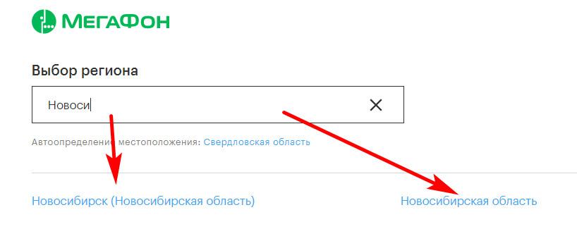 Выбор региона сайта Мегафон Новосибирск