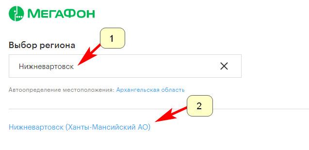 Выбор региона - официальный сайт Мегафон Нижневартовск