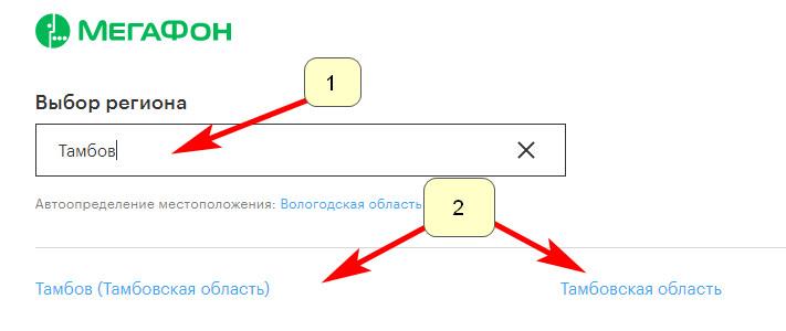 Выбор региона г. Тамбов через официальный сайт Мегафон