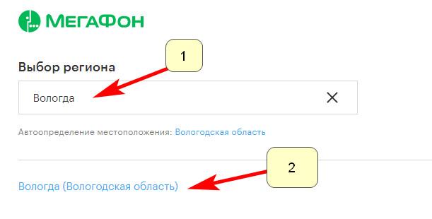 Выбор региона на сайте Мегафон - Вологда